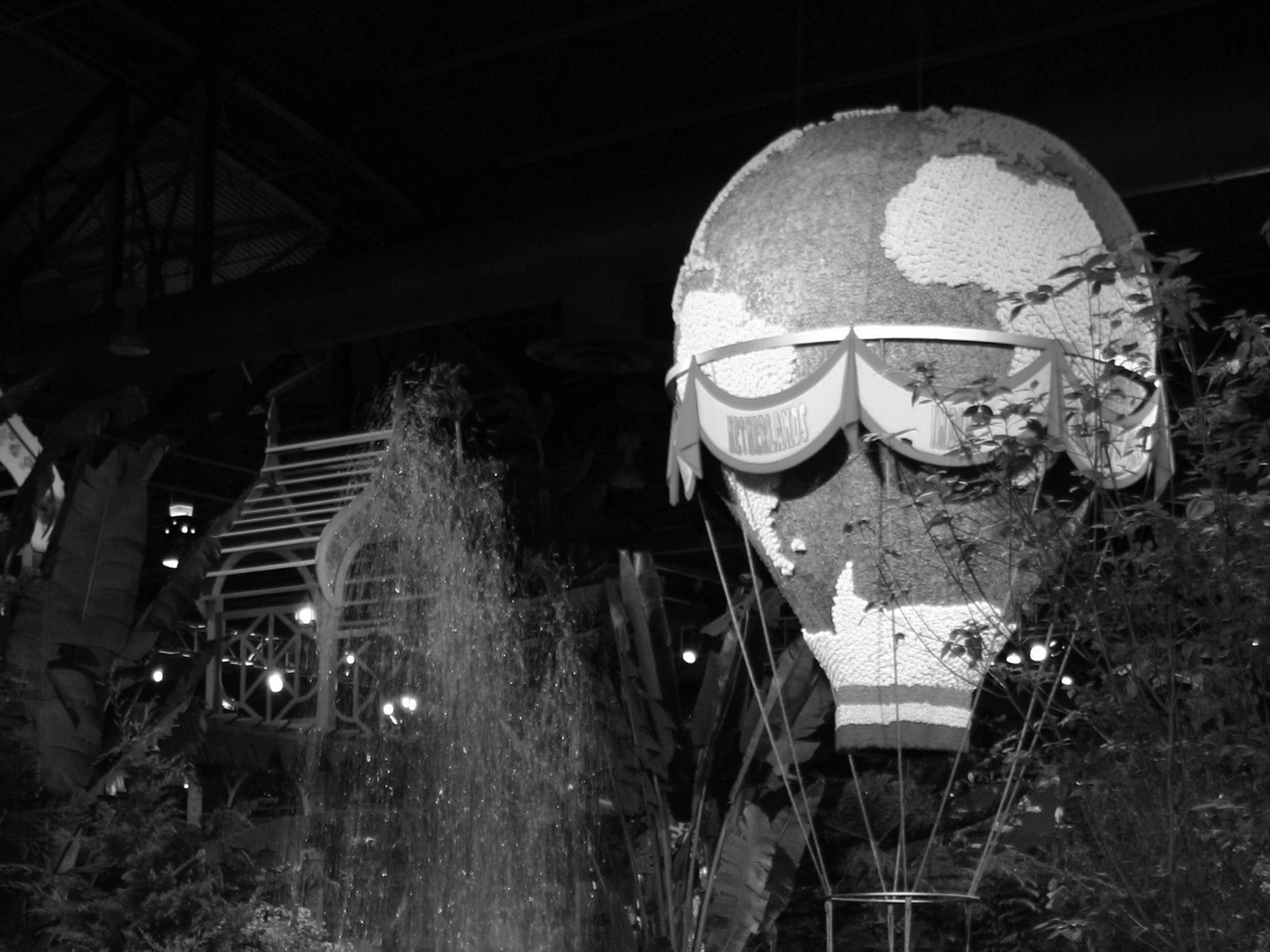 A hot air balloon rises above the 2010 Philadelphia Flower Show.
