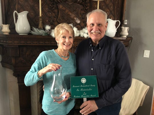 Sis and Jack Winterhalter with the awards they received from the Cincinnati Horticultural Society.