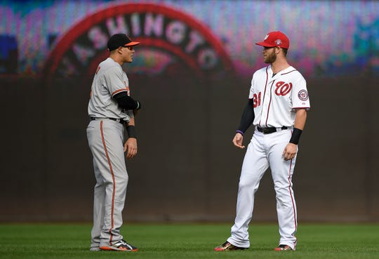 Baltimore Orioles third baseman Manny Machado, left, talks with Washington Nationals right fielder Bryce Harper, right, before an interleague baseball game, Thursday, Sept. 24, 2015, in Washington.