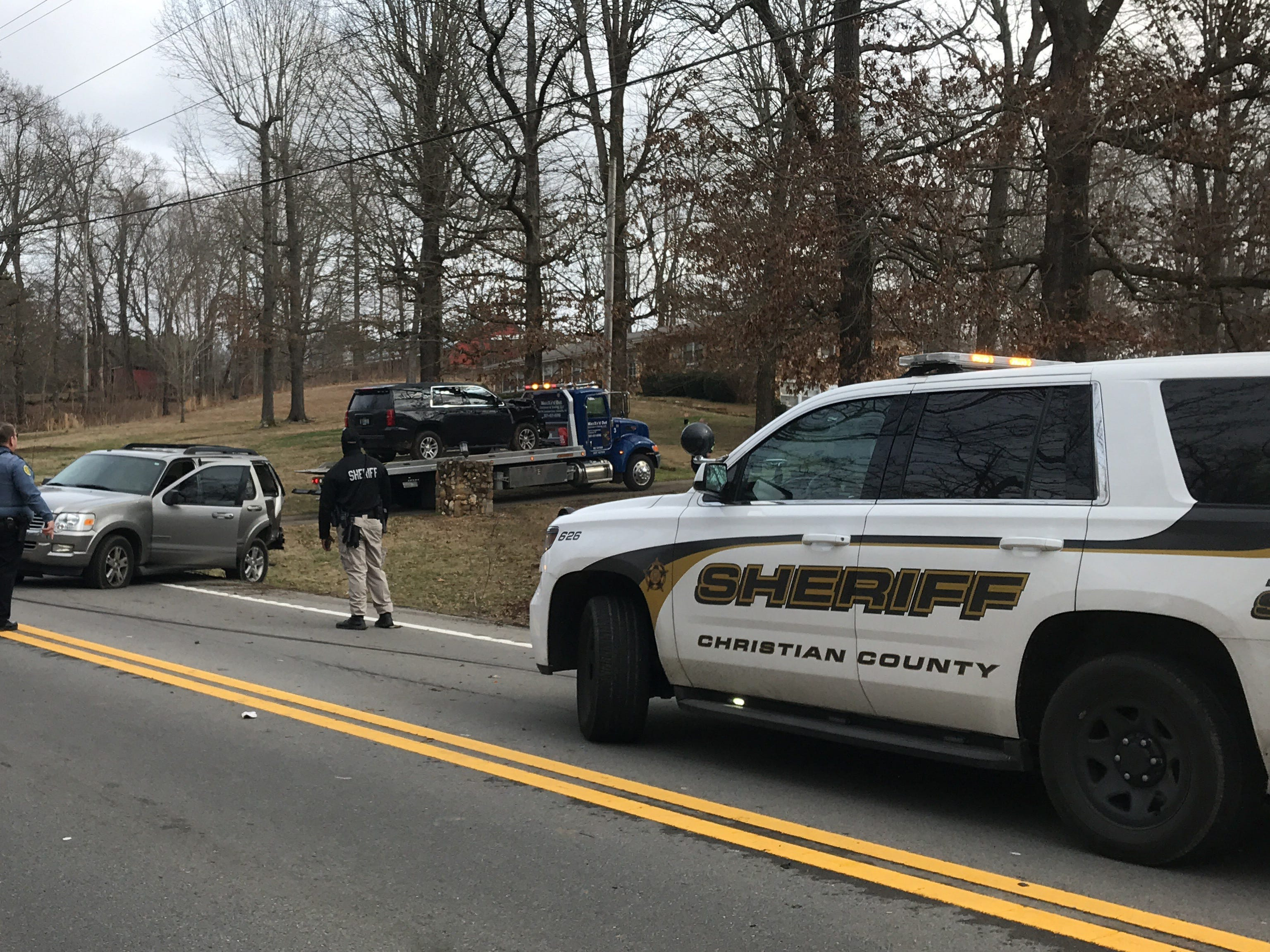 Two vehicles crashed during the capture of a Hopkinsville police shooting suspect on Highway 48/13 in Montgomery County on Monday, Feb. 18, 2019.