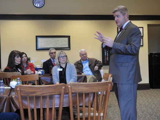 John Berry, new president of Central Ohio Technical College, recently met with local dignitaries at the Coshocton campus. During a short speech and following question and answer session, Berry addressed future plans and goals, the importance of local partnerships and the Coshocton Promise program offering free tuition for those in need.