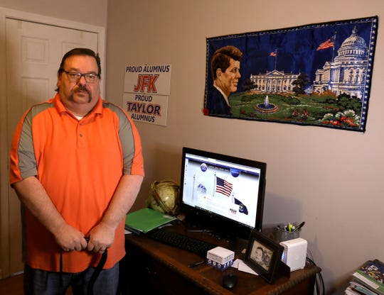 Taylor City Treasurer Ed Bourassa in his home office on Wednesday, February 13, 2019. Bourassa is on disability recovering from a fall last year at a hospital.  In December, the  City Council voted to suspend his pay and is trying to replace him.