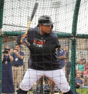Tigers infielder Miguel Cabrera takes batting practice during the first full team spring training practice on Monday, Feb. 18, 2019, at Joker Marchant Stadium in Lakeland, Florida.