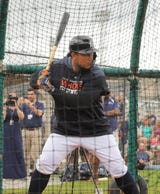 A slow motion look at Detroit Tigers first baseman Miguel Cabrera's swing in Lakeland. Fla., during spring training.