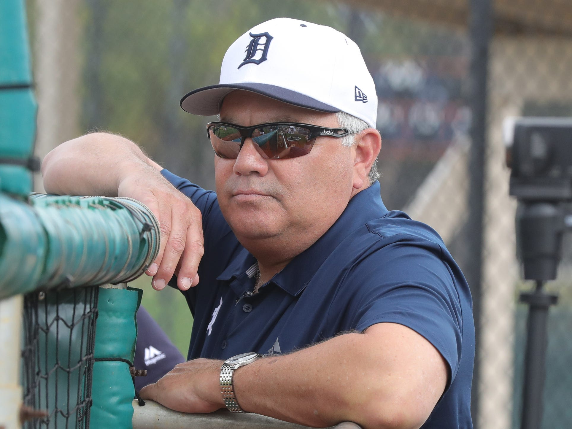 Tigers GM Al Avila watches the first full team spring training practice on Monday, Feb. 18, 2019, at Joker Marchant Stadium in Lakeland, Florida.