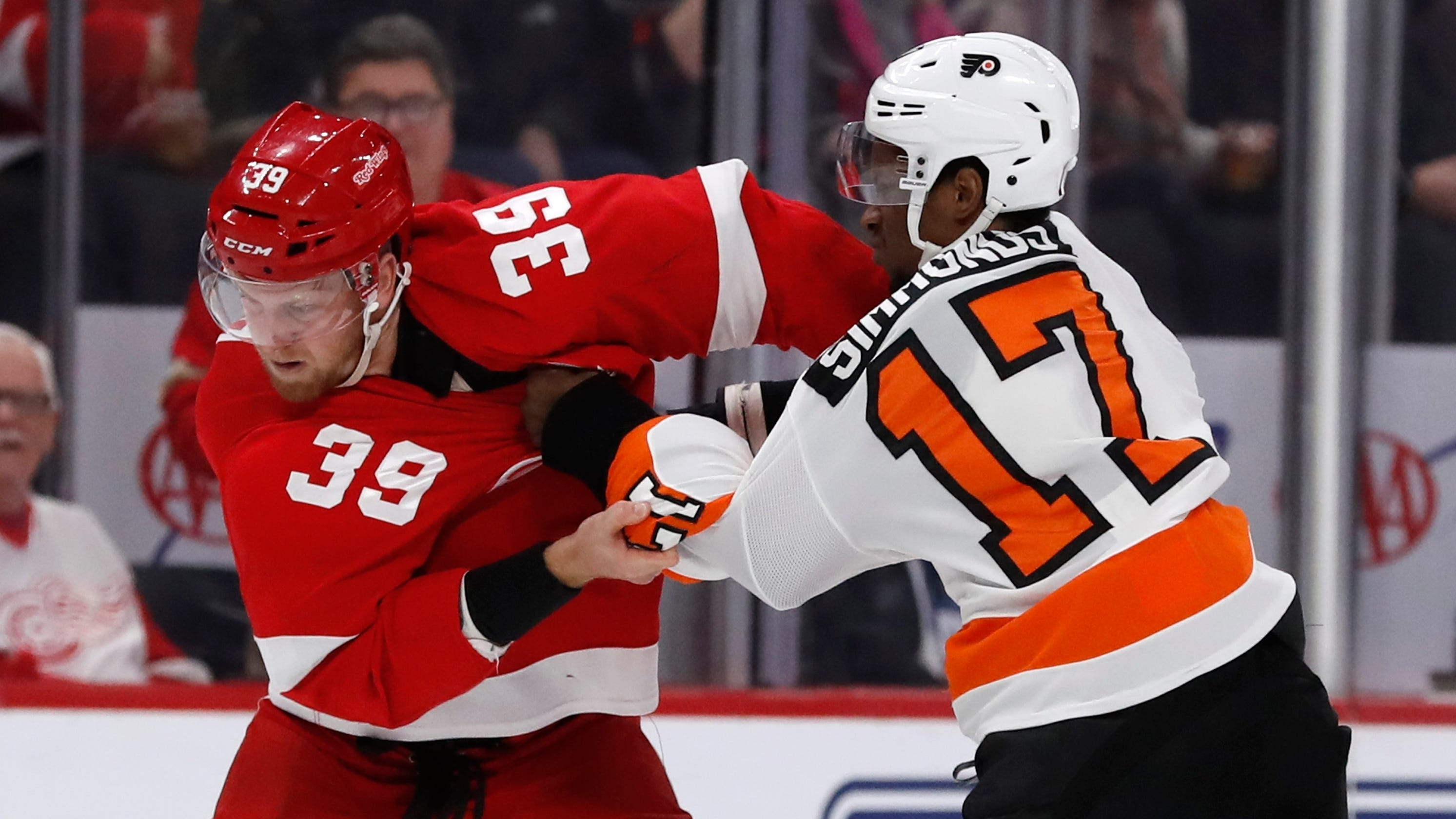 Red Wings  Anthony Mantha answers bell to fight vs. Flyers ce8e75ede