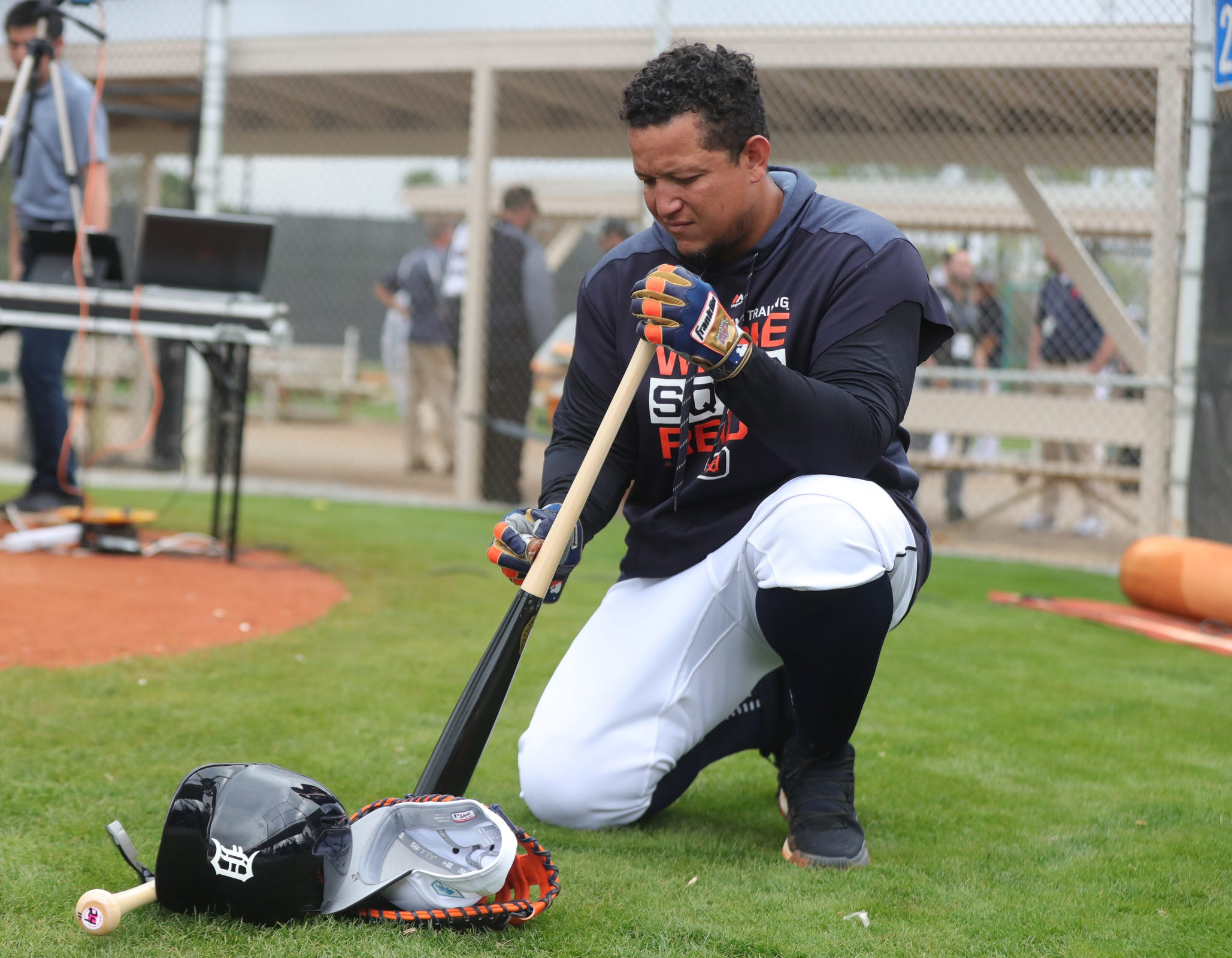 Miguel Cabrera prepares for batting practice Monday.