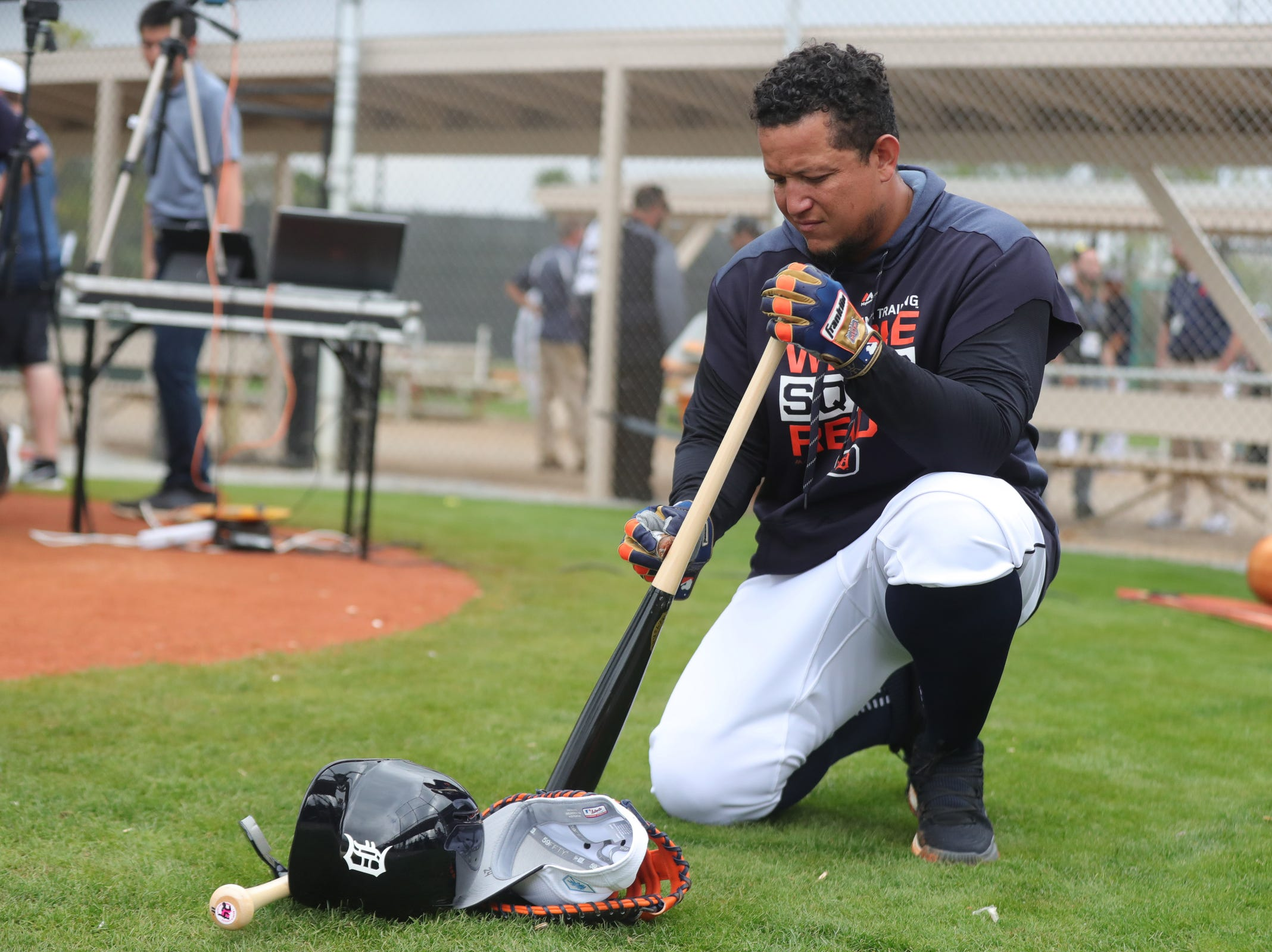 Tigers first baseman Miguel Cabrera prepares for batting practice during the first full team practice on Monday, Feb. 18, 2019, at Joker Marchant Stadium in Lakeland, Florida.
