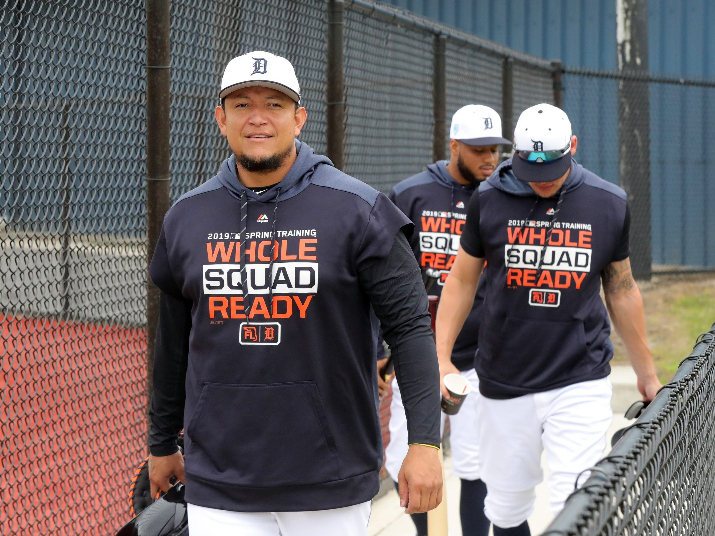 Tigers first baseman Miguel Cabrera walks to the field for the first full team spring training practice on Monday, Feb. 18, 2019, at Joker Marchant Stadium in Lakeland, Florida.