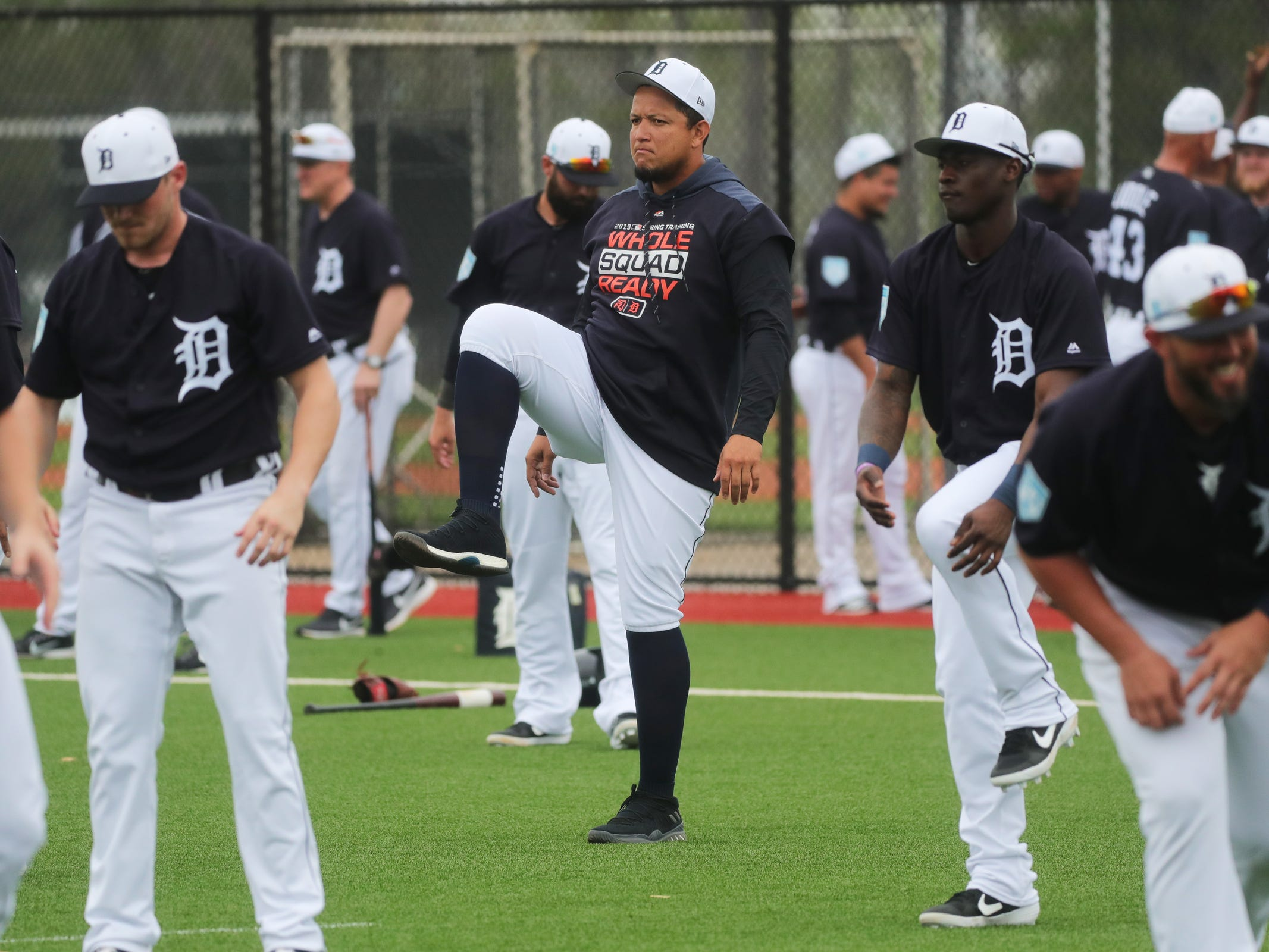 Tigers first baseman Miguel Cabrera stretches during the first full team spring training practice on Monday, Feb. 18, 2019, at Joker Marchant Stadium in Lakeland, Florida.