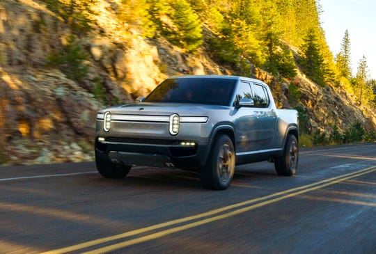 Rivian, an automotive startup with an engineering base outside Detroit in Plymouth Township, unveiled its five-passenger R1T electric pickup concept in conjunction with the LA Auto Show on Monday, Nov. 26, 2018.