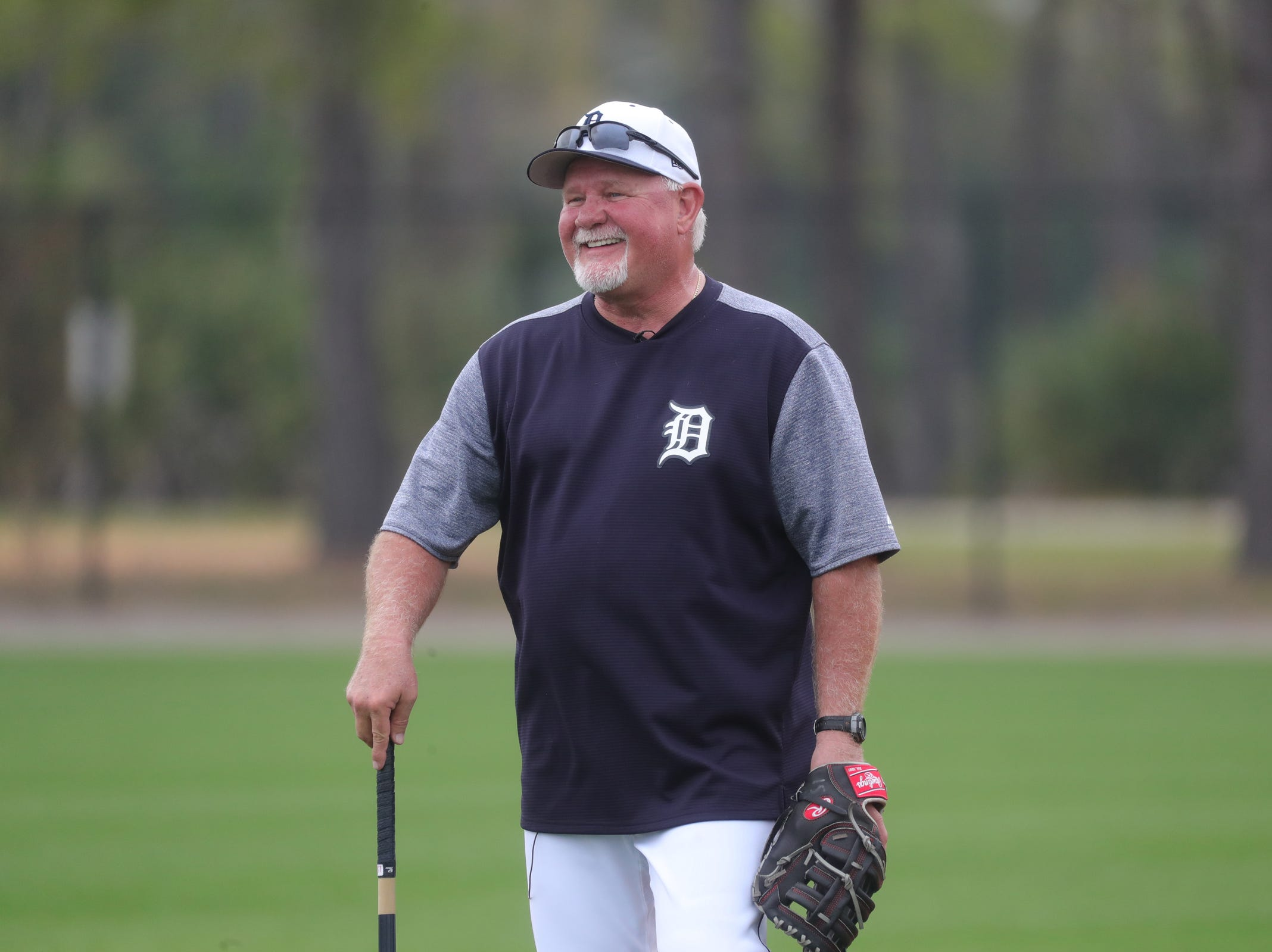 Tigers manager Ron Gardenhire on the field during the first full team spring training practice on Monday, Feb. 18, 2019, at Joker Marchant Stadium in Lakeland, Florida.