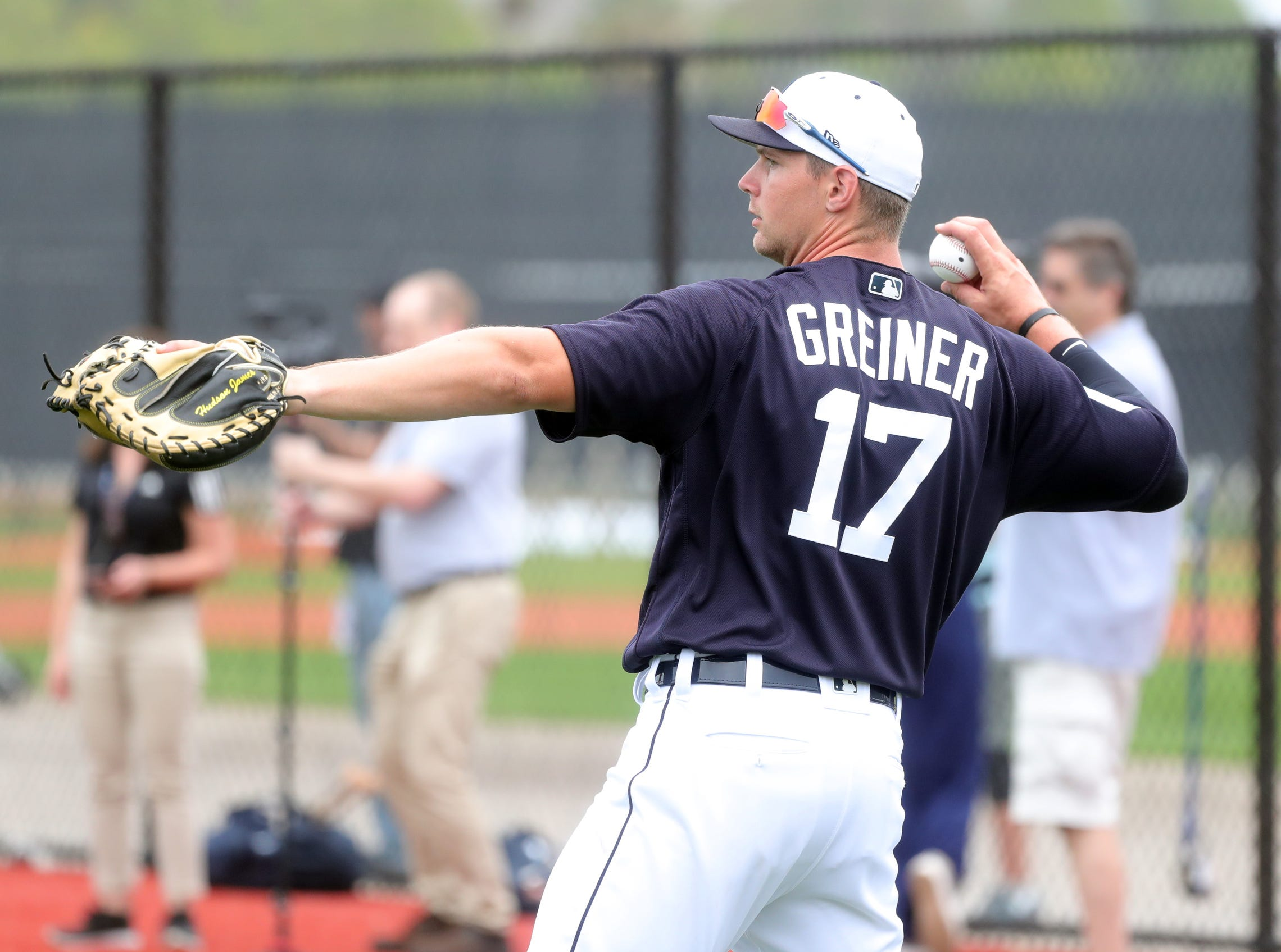 Tigers catcher Grayson Greiner warms up during the first full team spring training practice on Monday, Feb. 18, 2019, at Joker Marchant Stadium in Lakeland, Florida.