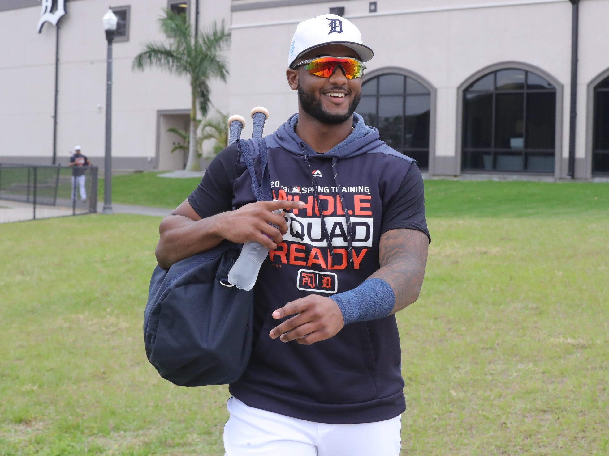 Tigers infielder Niko Goodrum walks to the field for the first full team spring training practice on Monday, Feb. 18, 2019, at Joker Marchant Stadium in Lakeland, Florida.