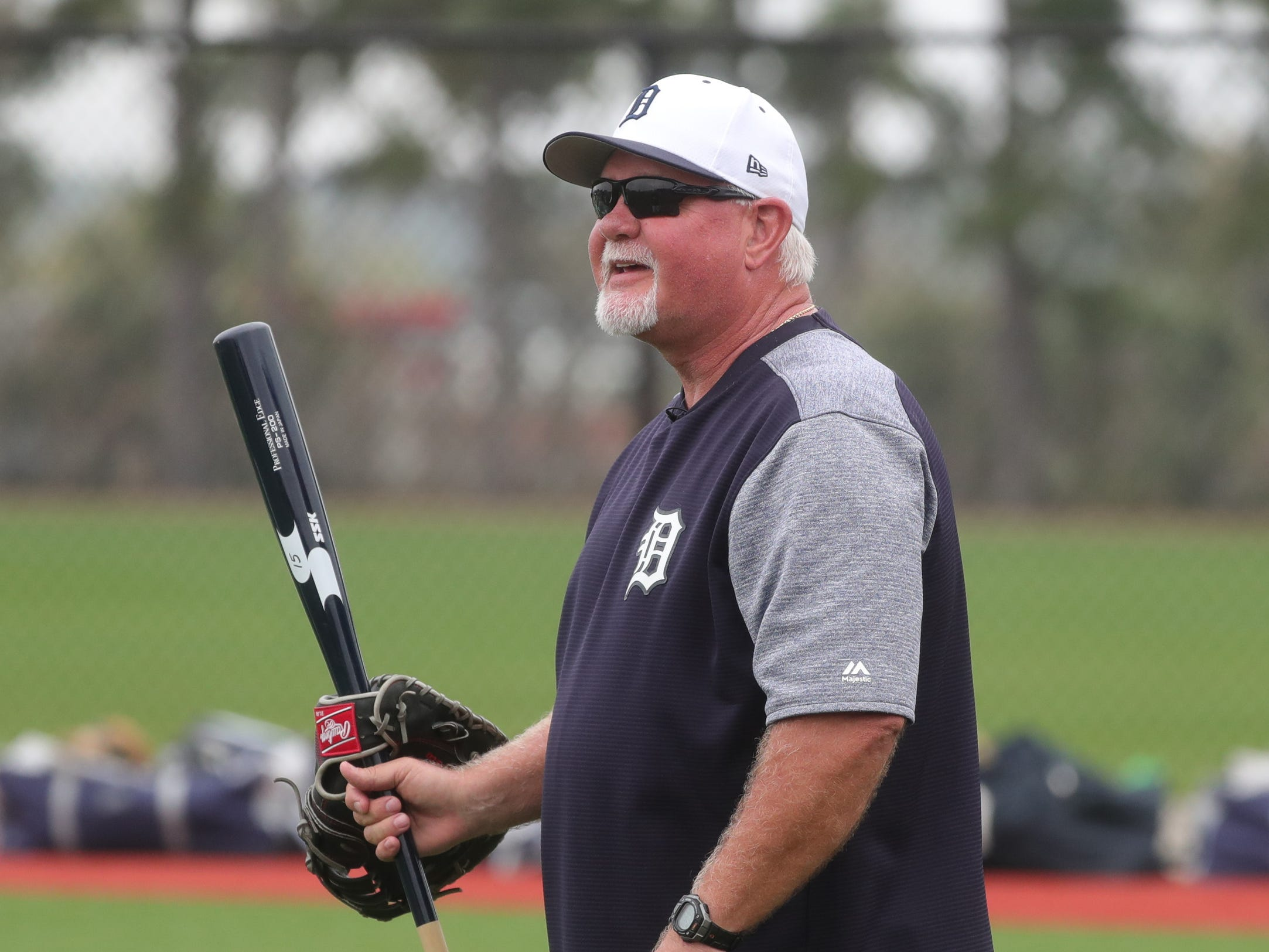 Tigers manager Ron Gardenhire on the field for the first full team spring training practice on Monday, Feb. 18, 2019, at Joker Marchant Stadium in Lakeland, Florida.
