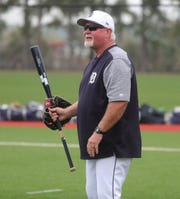 Ron Gardenhire on the field for the team's first spring training practice on February 18, 2019, in Lakeland, Florida.