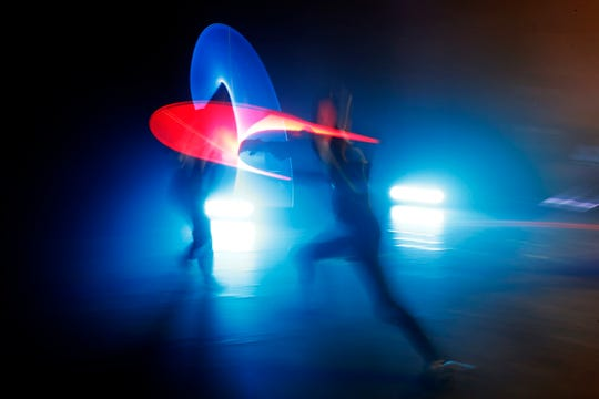 Competitors battle during a national lightsaber tournament in Beaumont-sur-Oise, north of Paris. I