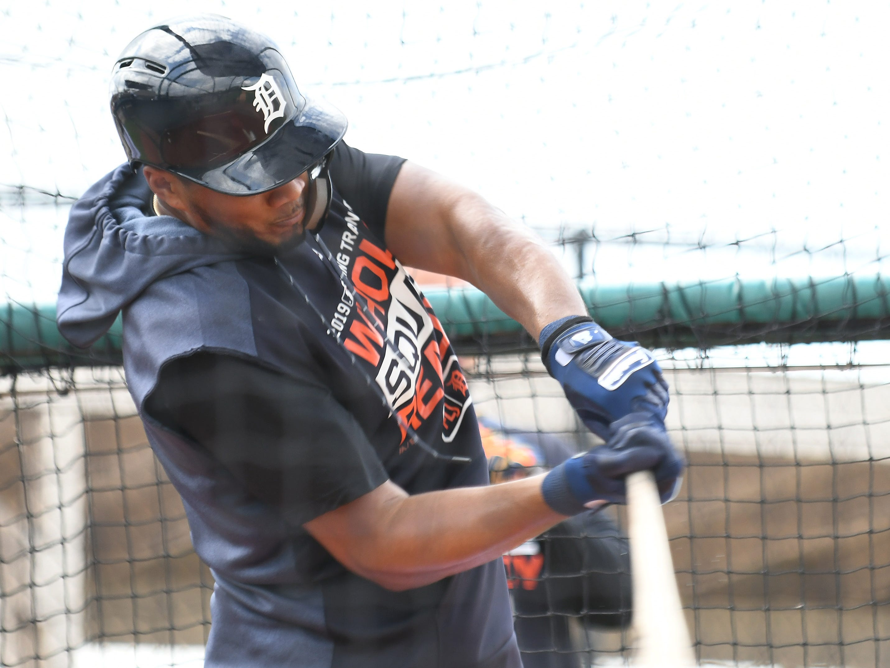 Tigers' Jeimer Candelario takes live batting practice.