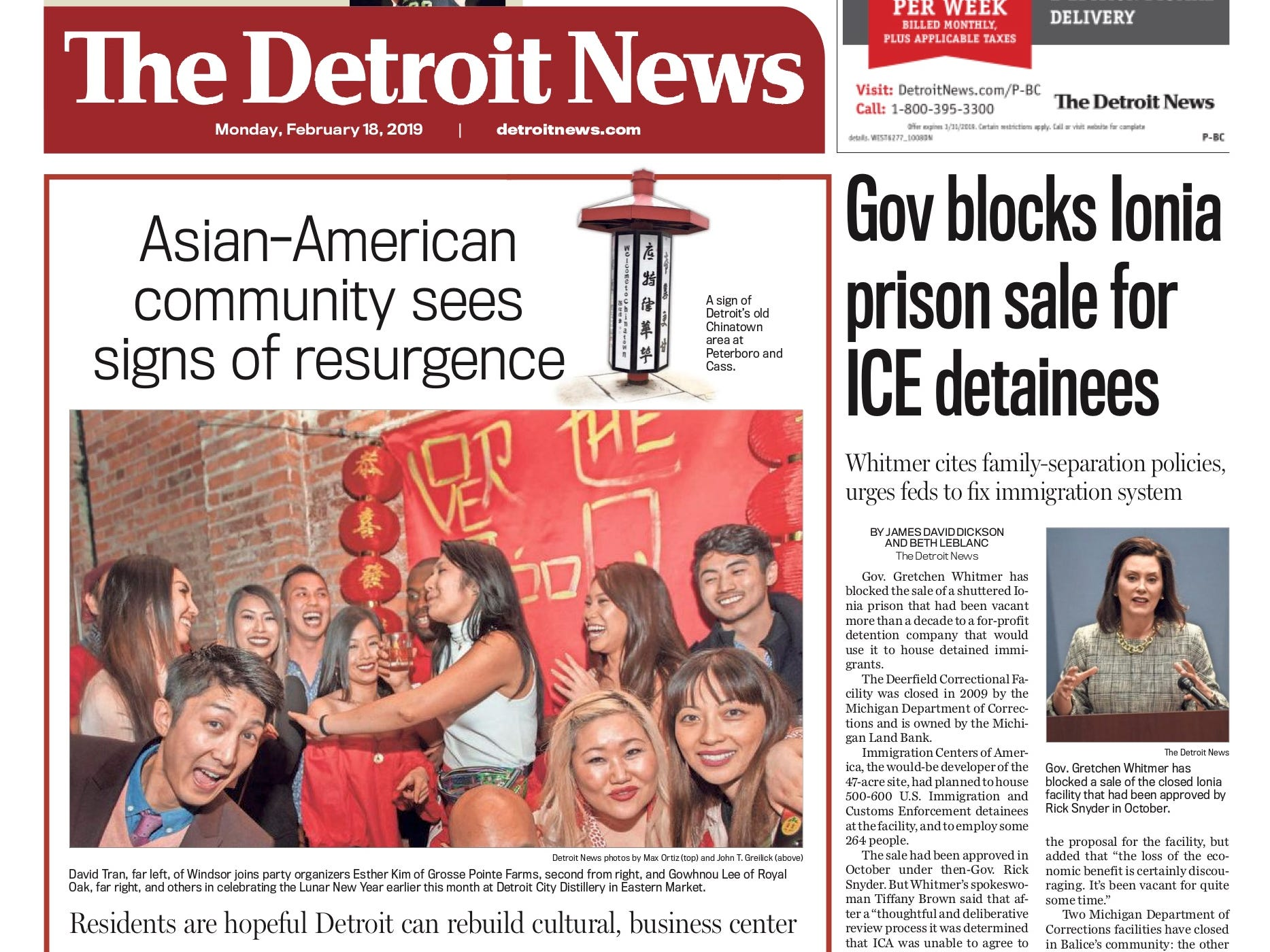The front page of the Detroit News on February 18, 2019.