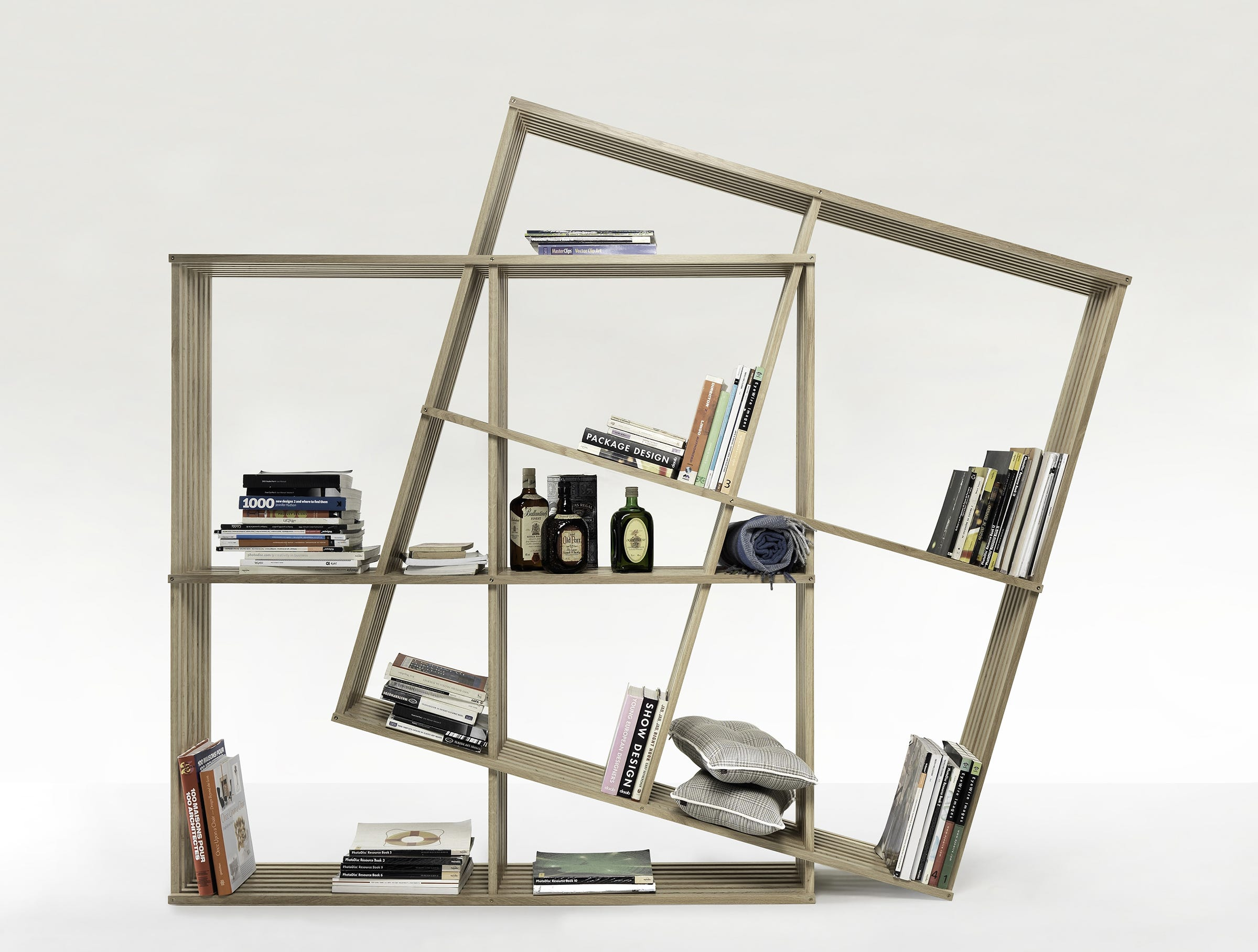 A pair of intersecting bookshelves of equal size allow you to tilt, if you want an avant-garde aesthetic. The Portuguese joinery brand Wewood won an innovation award for this X2 open bookcase designed by Laurindo Marta.