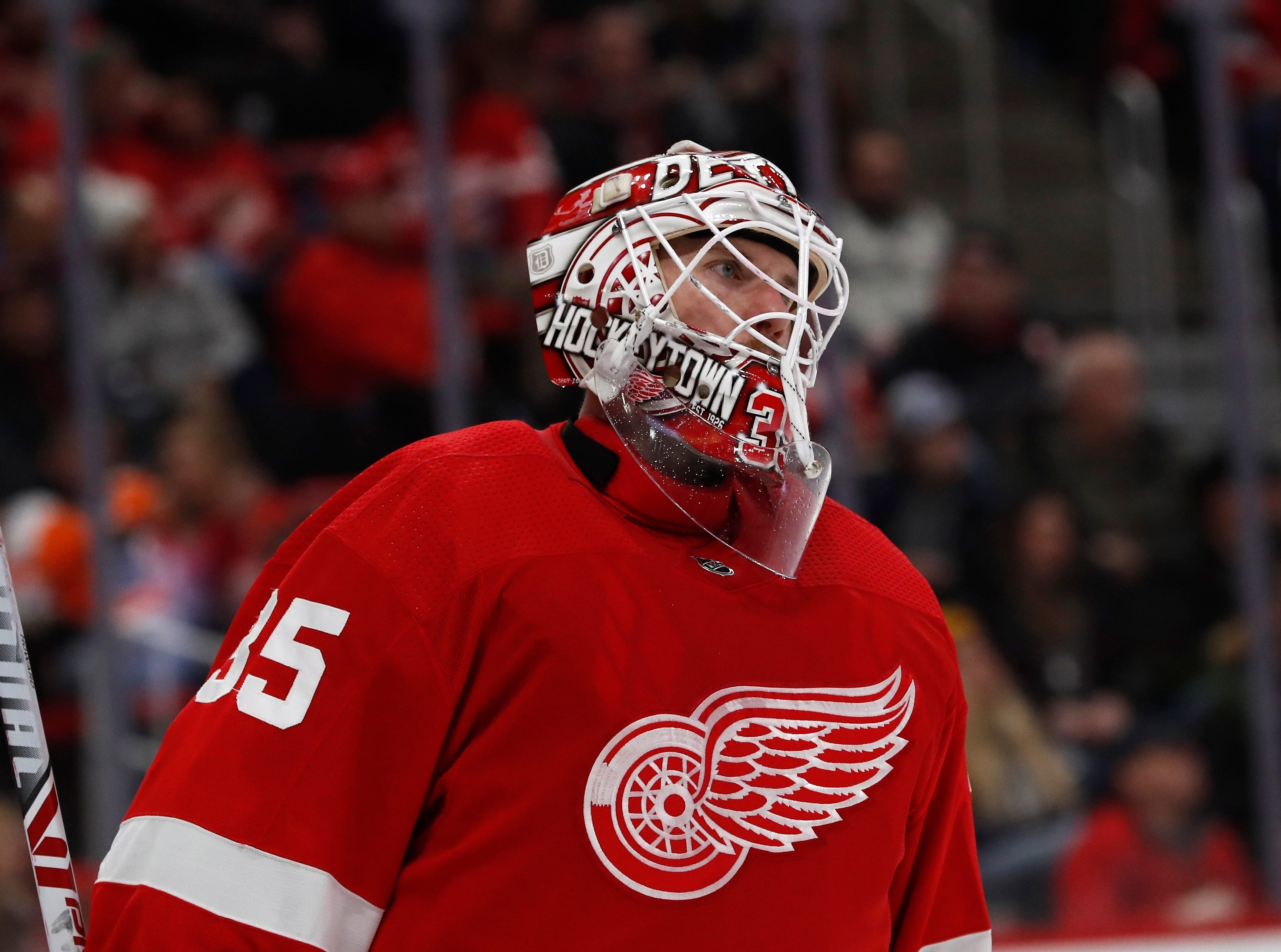 Detroit Red Wings goaltender Jimmy Howard skates during the third period.