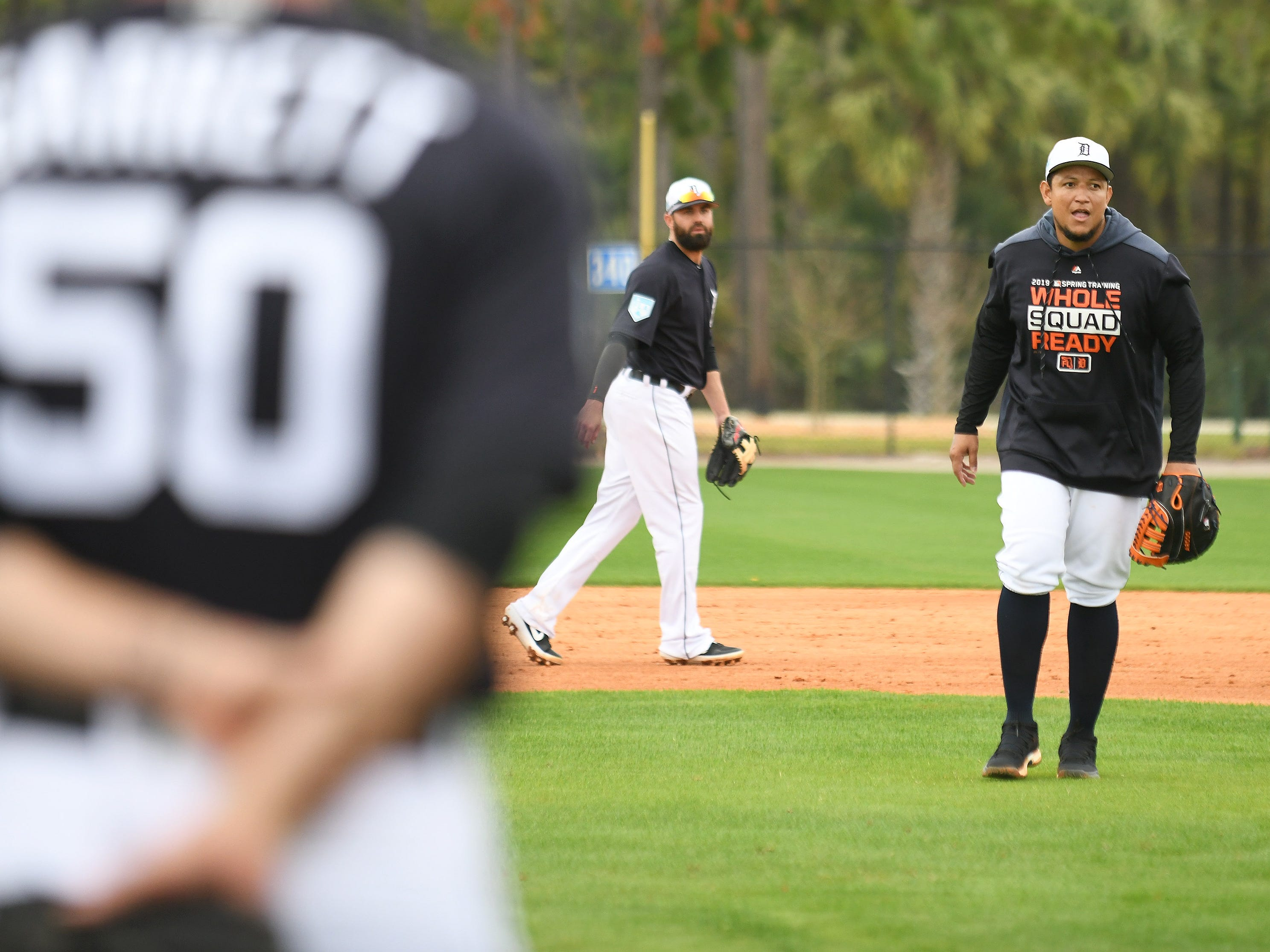 Tigers first baseman Miguel Cabrera gives some input during infield drills.