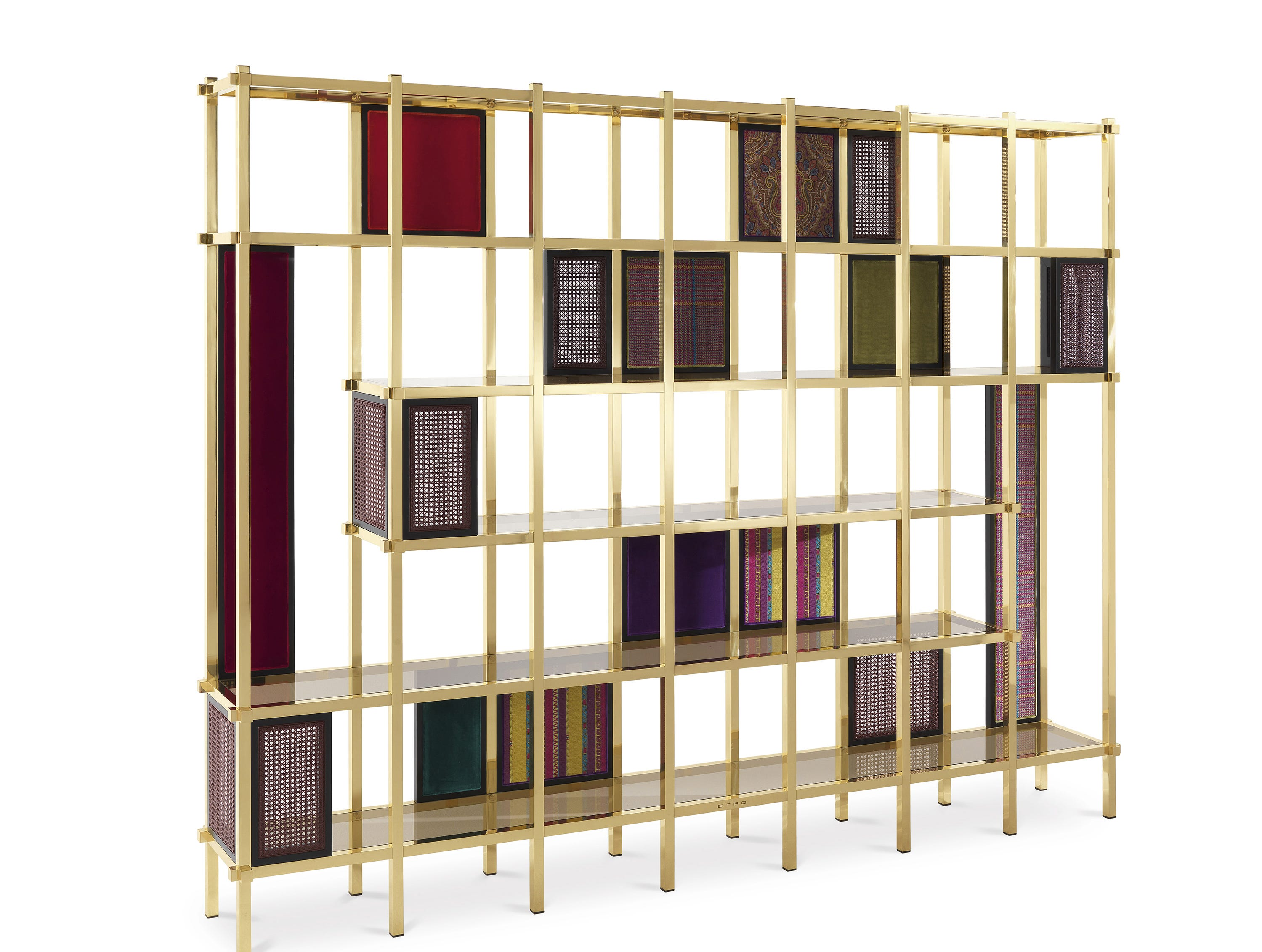 Beautiful signature patterns for the Italian brand Etro are integrated into brass-finished open shelving, transforming it fashionably.