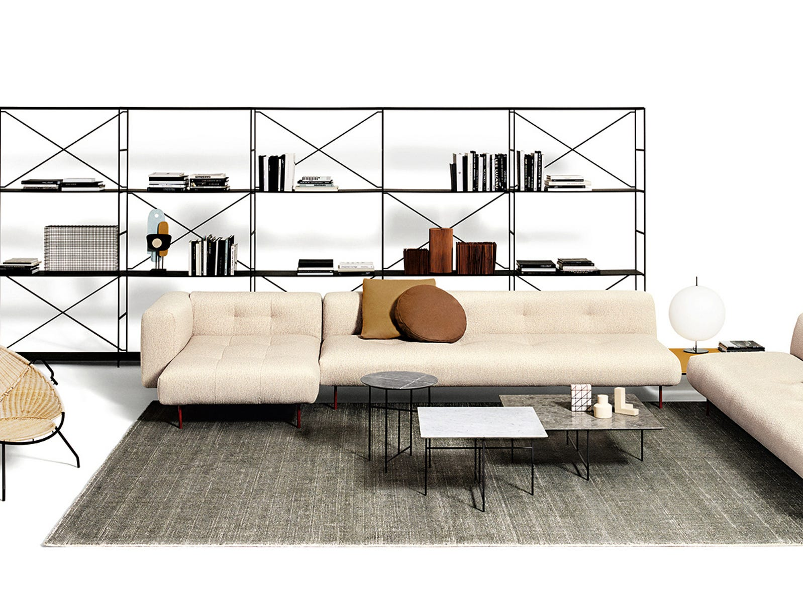 Storage needs have evolved in living spaces, and this solution from De Padova strikes a simple architectural chord. The flexible system is available in satin or matte black anodized aluminum or matte white painted aluminum. The versatile Universal Shelving system works in the living room, home office or as a wardrobe in a master bedroom suite. Modules with sliding doors are ideal for home bars and entertainment systems.