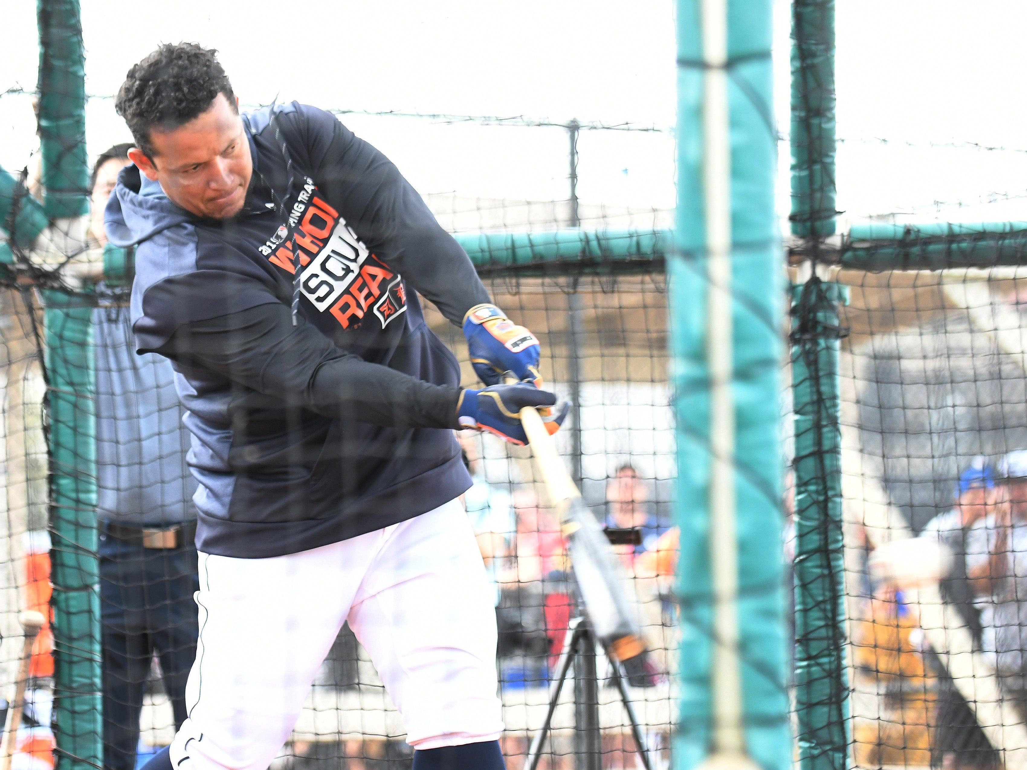 Tigers' Miguel Cabrera takes batting practice.