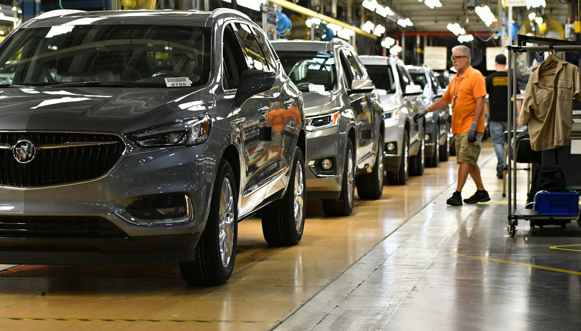 Buicks roll off the line at General Motors' Lansing Delta Township Assembly plant.