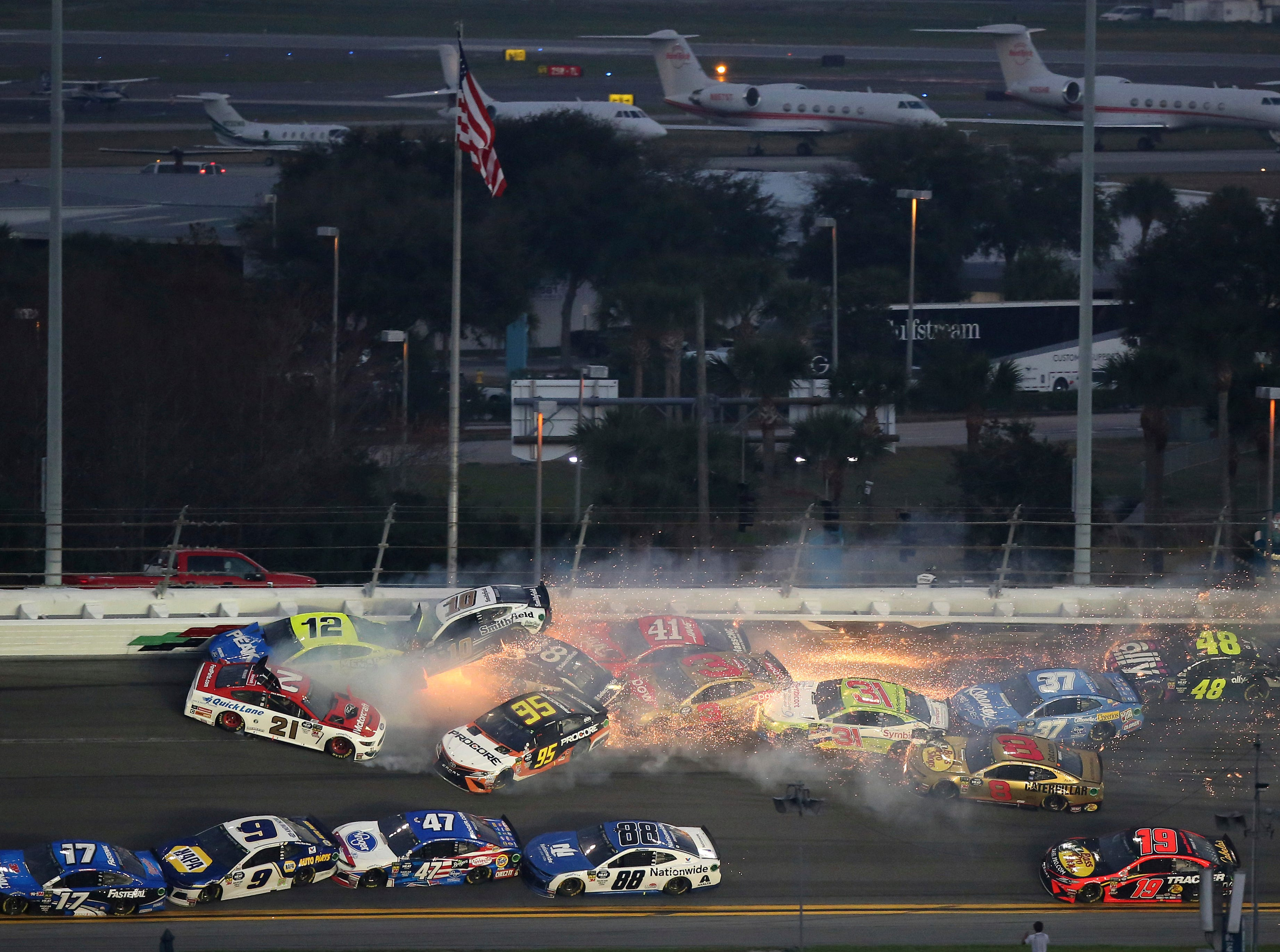 Multiple cars crash during a NASCAR Daytona 500 auto race Sunday, Feb. 17, 2019, at Daytona International Speedway.