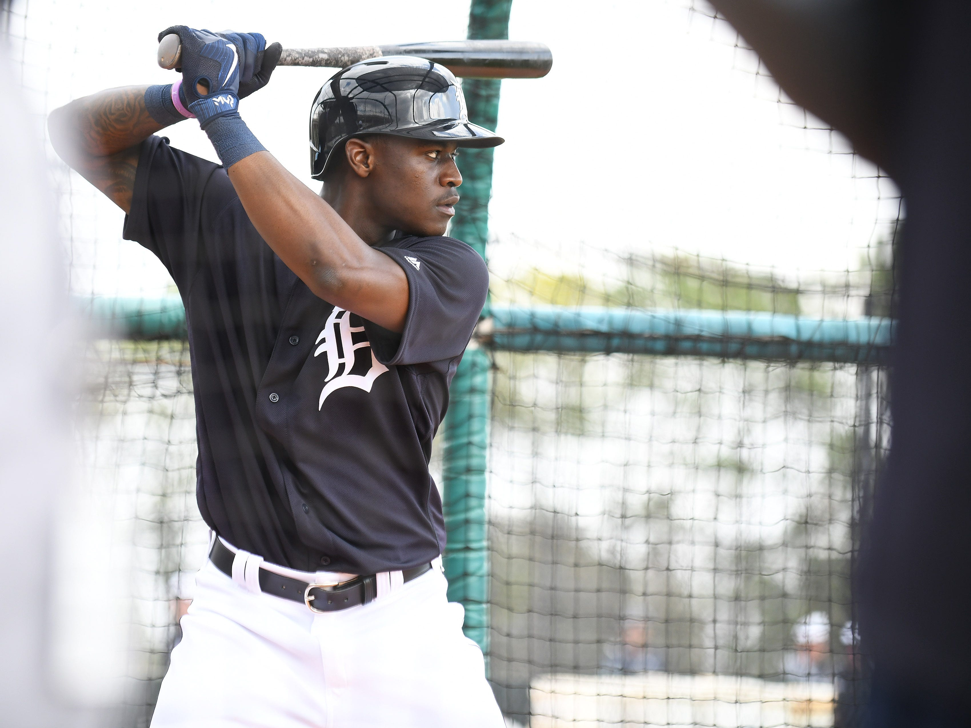 Tigers prospect and non-roster invitee Daz Cameron takes batting practice.