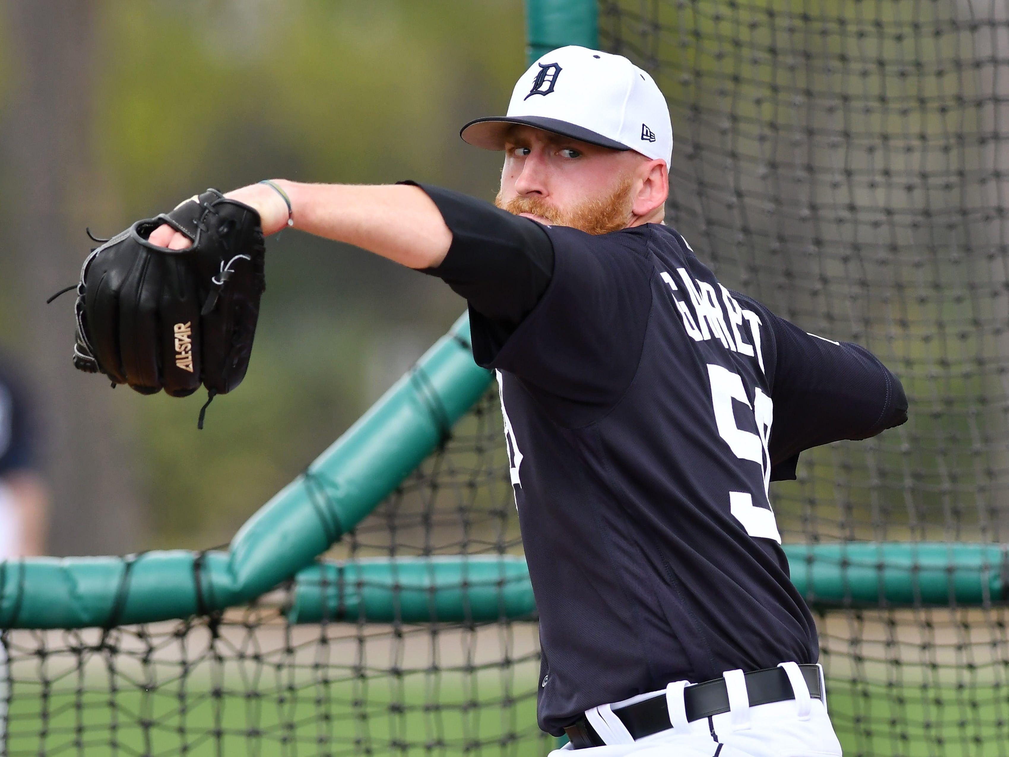 Tigers Rule 5 draft pick Reed Garrett throws live batting practice.