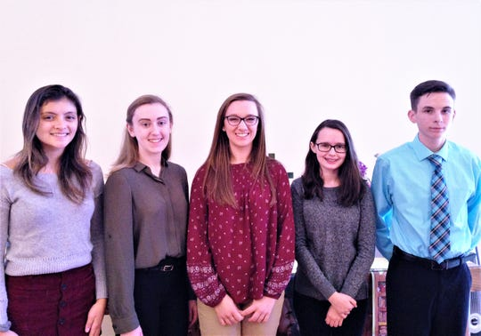 Five area high school students were recently honored by the Chemung Chapter of the Daughters of the American Revolution. From left are Jadyn Baskoff, Taylor Browning, Alexa Wagner, Rebecca Shannon and Joshua Ayers.