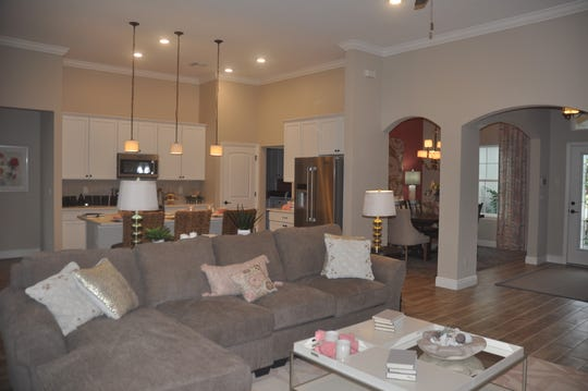 The kitchen and living room has an open floor plan.