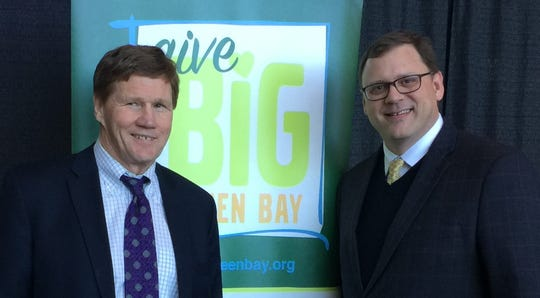 Green Bay Packers President and CEO Mark Murphy, left, and Greater Green Bay Community Foundation President and CEO Dennis Buehler.
