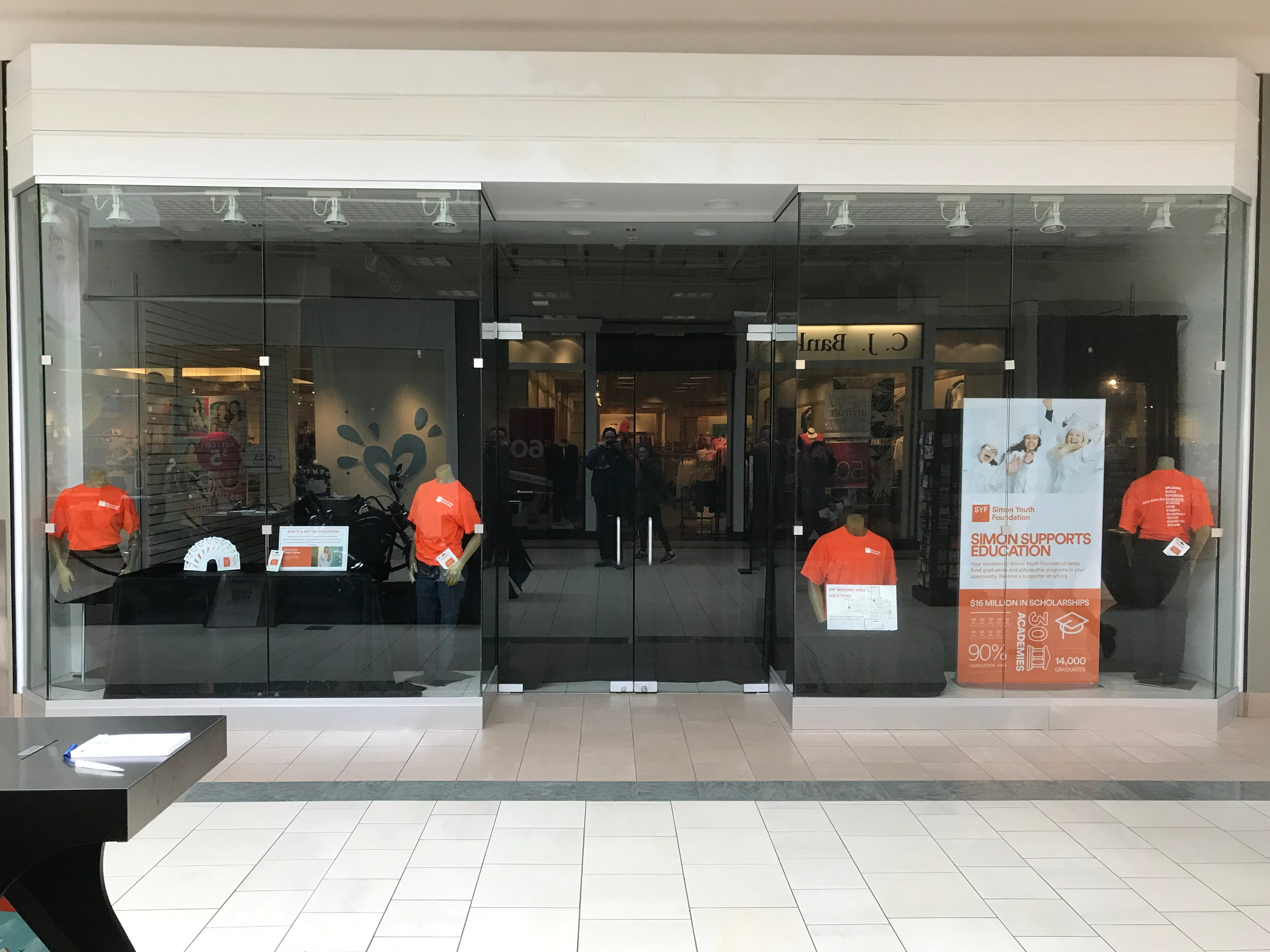 A Simon Sports Education display in the window of a vacant storefront near the Shopko store in Bay Park Square in Bay Park Square in Ashwaubenon.
