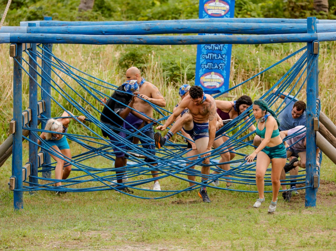 "Chris Underwood, front, competes on ""Survivor: Edge of Extinction."""