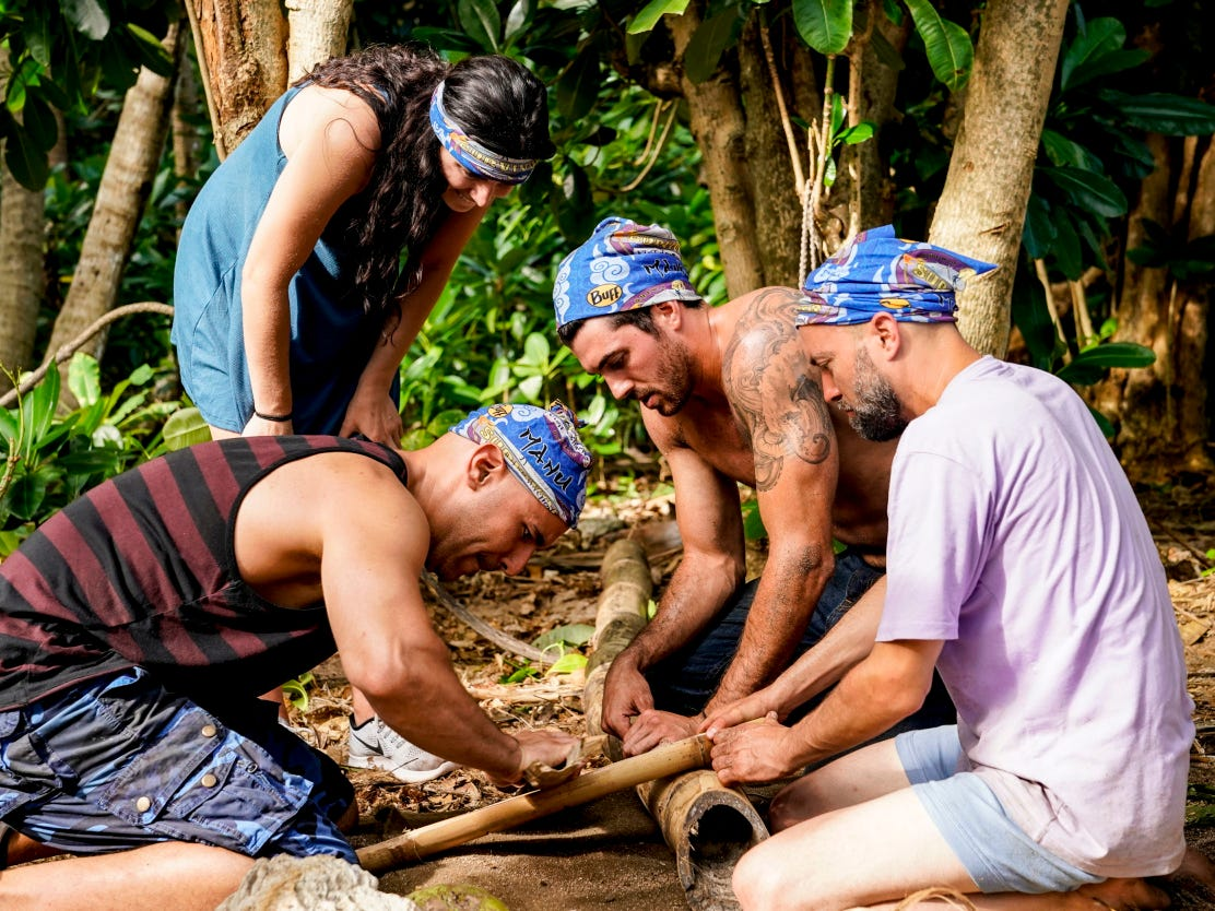 "Chris Underwood, second from right, is a contestant on ""Survivor: Edge of Extinction,"" which premieres Feb. 20."