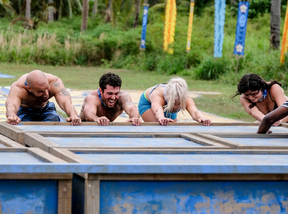 "Greenville's Chris Underwood, second from left, competes on Season 38 of ""Survivor."""
