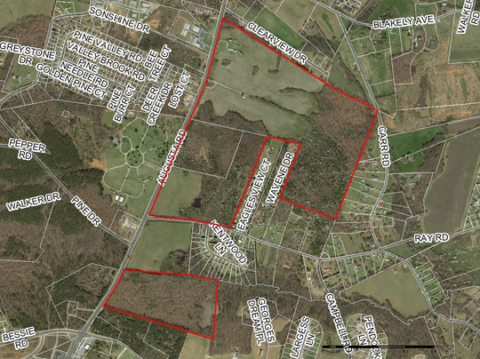 Greenville County's next major industrial park could be a 252-acre area off U.S. 25 in Piedmont, shown here outlined in red.