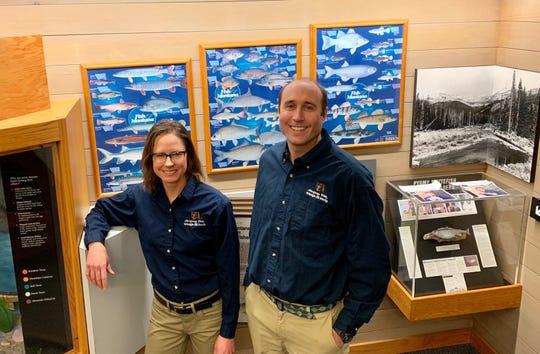 Montana Fish, Wildlife & Parks Region 1 Fisheries Biologist Amber Steed (left) and Science Program Supervisor Matt Boyer.
