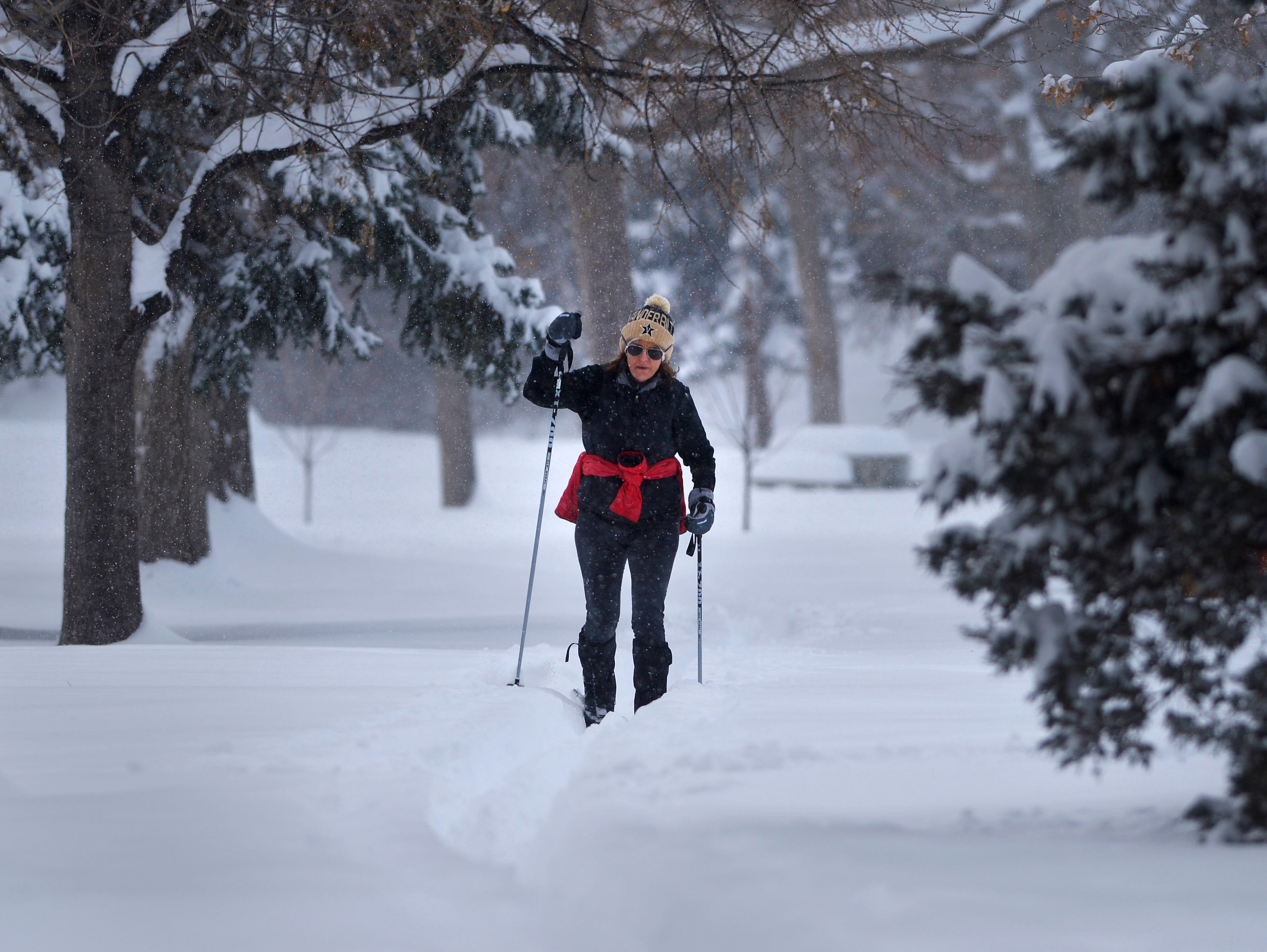 Sheila Kelly loves to cross country ski in Gibson Park whenever there is enough snow like on Saturday, February 16, 2019.  Great Falls received over 21 inches of snow from February 1 through February 17.