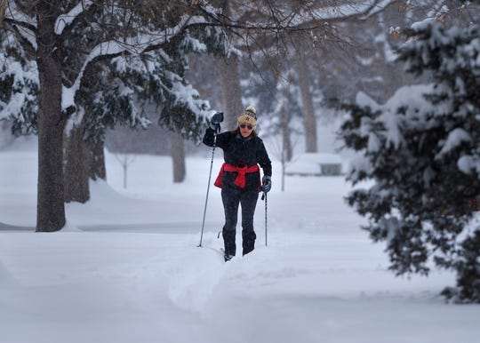 Sheila Kelly loves to cross-country ski in Gibson Park in Great Falls whenever there is enough snow, which there was Saturday. The city had received 21.2 inches of snow in February as of Monday.