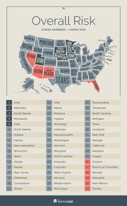 The safest states for seniors are in dark blue and the most dangerous in orange. Montana is ranked 20th.