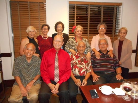 The Guam High School Class of 1965 had a post-Valentine dinner at the Sheraton La Cascata Restaurant on February 15. Sitting from left: Dayton Auyong, John Taitano, Alfred Cabrera and Victor Perez. Standing from left: Annie Duenas, Annie Auyong, Sera Taitano, Maryann Cabrera, Anita Perez and Carmen Paulino. We are planning for our 55th Class Reunion scheduled for July 2020 and ask our classmates to contact Maryann Cabrera at maryannbcabrera47@yahoo.com or 688-5365 to help us plan for the event.
