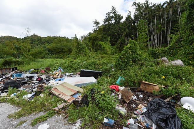 Trash is scattered at the side of a street in Agana Heights, Feb. 18, 2019.
