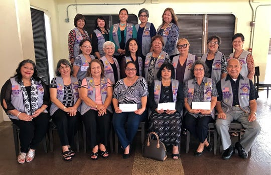 """In fulfilling its mission of """"Caring for the Sick and the Elderly,"""" the Guam Sunshine Lions Club made monetary donations on Feb. 16 to assist in the medical treatment expenses of: Lourdes M. Sablan, 41; Kenlora B. Espera, 33; and William T. Cruz, 49.  Seated from left: L. Lorraine Rivera, L. Annie Artero, L. Julie Cruz, Lourdes M. Sablan, L. Connie Rivera (accepted donation on behalf of Kenlora B. Espera), L. Dot Leon Guerrero (accepted donation on behalf of William T. Cruz), and L. Pete Babauta.  Second row from left: Lions Marie Salas, Helen Mendiola, Linda Villagomez, Jojo Pillsbury, Jill Pangelinan, Dee Cruz, and Marietta Camacho.  3rd row l to r: Lions Mary Taitano, Julie LeBreton, Tish Tano, Josephine Borja, and Clarice Quichocho."""