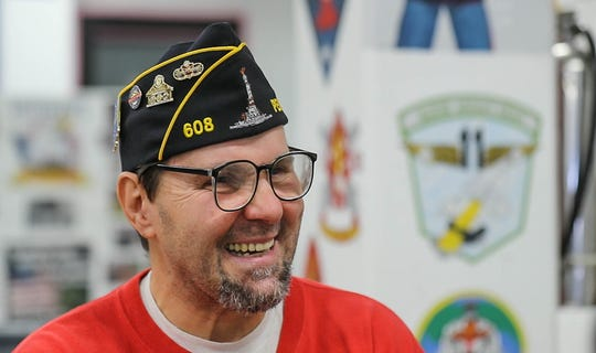 Inmate and color guard member Jim Robinson is interviewed at the American Legion George D. Vickery Post #608, located inside of the Pendleton Correctional Facility in Ind., on Wednesday, Feb. 6, 2019.