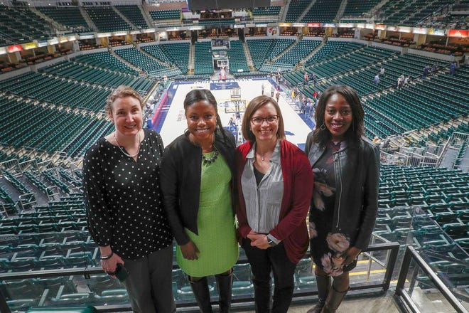 Mel Raines, left to right, Shayna Sangster, Donna Wilkinson and Tatiana Holifield are just a few of the many women of the Pacers organization.